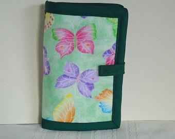 Green Butterflies Needle Book, Needle Case, Hand Sewing Organizer