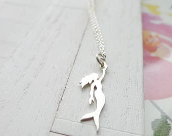 Mermaid Necklace Sterling Silver Charm Gift for Girls Ocean Lover Mermaid Jewelry