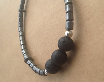 Hematite and Lava Bead Stretch Bracelet, Essential Oil Diffuser Jewelry, Aromatherapy Jewelry