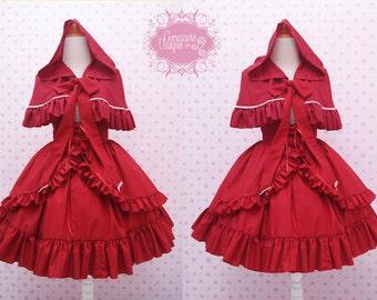 Red Riding Hood Skirt and Capelette - High Waist Skirt Cape - Red Ruffle High Waist Skirt