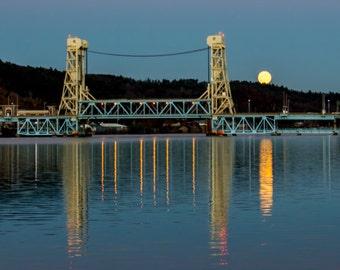 12x24 Metal Print, Super Moon rishing over Portage Lake Lift Bridge, Houghton, MI, Fall, 2016