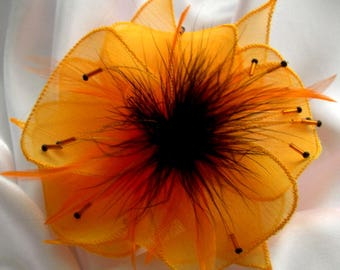 Yellow silk flower brooch, feathers and beads