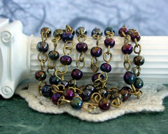 Beaded Chain, Glass Bead Chain, Blue Iris Purple Iris Brown Iris Raw Brass Beaded Chain, Rosary Chain, Jewelry Chain CHN-022