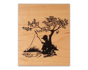 Boy Fishing Silhouette mounted rubber stamp, summer scene, vintage style, old fashioned, Crazy Mountain Stamps #1
