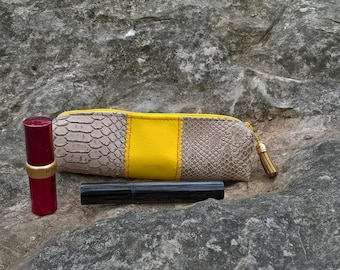 Beige and yellow, makeup pouch cosmetic beige yellow, yellow pouch, Pocket rock, rock make-up pouch beige