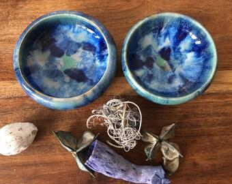 Salt and Pepper Pot/ Salt Pot /Pepper Pot/ Ceramic Pinch Pots /Pottery Pinch Pots/ Condiment Bowls / 'Blue Wave Collection'