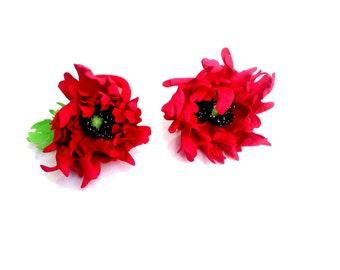 Red flower hair clip Ivory Red flower red hair clip Flowers for hair Boho wedding Rustic wedding Summer wedding Red wedding red hair clip