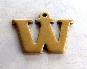 Vintage Brass Letter W Pendant (1X) (A630)