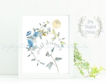 Girl Nursery Print, Digital Art Print, Boho Print, Realistic Watercolor, Watercolor Wreath, Sweet Dreams, Quote, Moon, Moon Print
