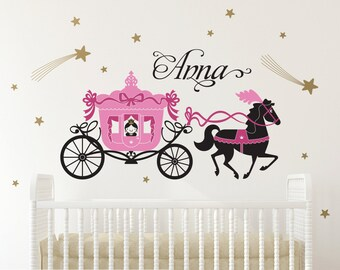 Princess Horse Carriage Wall Decal Fairy Tale Girls Name Princess Room Decor Nursery Appliqué