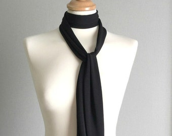 Black Choker Scarf, Long Skinny Scarf, Thick Black Choker, Chocker, Narrow Neck Scarf, Women's Ascot Scarf, Women's Neck Tie