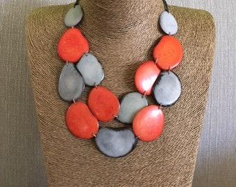 Orange Tagua Statement Necklace / Tagua Jewelry / Tagua Necklace / Statement Necklace / Tagua Nut Jewelry