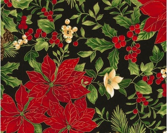 Holiday~Ponsettias On Black Cotton Fabric By Timeless Treasures