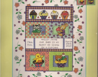 Janlynn Baby Counted Cross Stitch kit #021-1456 Sweet As A Cupcake