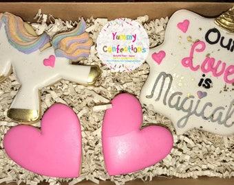 Valentines Day Cookies; Unicorn Valentines Day Cookies; Unicorn Cookies; Our Love is Magical;  -  (4 Cookies)