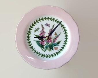 "6.5"" Floral Wall Clock, Pink Foxglove Clock, Small Wall Clock, SILENT Porcelain Plate Clock, Unique Wall Decor, Kitchen Clock  2034"