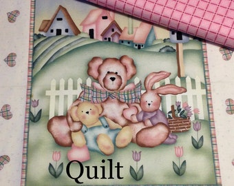 QUILT KIT Teddy bear bunny village panel, a tisket a tasket by Daisy Kingdom,Stuffed Animals, approx 1 yard panel, top binding & backing
