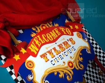Druckbare Banner - Circus Geburtstag Hintergrund - Party druckbare Zeichen - DIY-Druck - Grundfarben, Vintage Karneval Party Zeichen, Circo Carnaval
