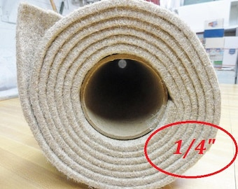 """Wool Felt By The Yard, Eco Felt Slipper Insole,  Boot Insole, 100% Eco Wool Insoles, Shoe or Slipper Supplies, 1/4"""" - 20"""" x 60"""""""