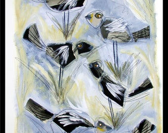 painting on paper, marshland, birds, grass, collage, acrylic, one of a kind, unique artwork, black and white, grey tones, nature, landscape