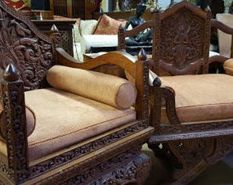 Pair of Hand Carved Asian Throne Chairs