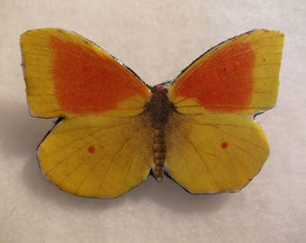 LEATHER Yellow Butterfly BROOCH