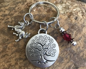 Horse keychain with tree of life charm and hot pink crystal - graduation and or Mother's Day gifts