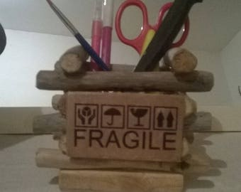 "drift wood pencil holder and plate in medium with ""fragile"" as a decoration"