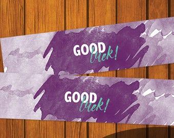 Mason Jar Printable Label / Watercolor Mason Jar Printable / Good Luck / Purple / Mason Jar / Instant Download / Digital Download