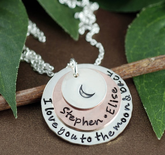 Love you to the Moon and Back Necklace, Personalized Mom Necklace, Gift for Mom, Moon and Back Jewelry, Name Necklace, Kids Name Necklace