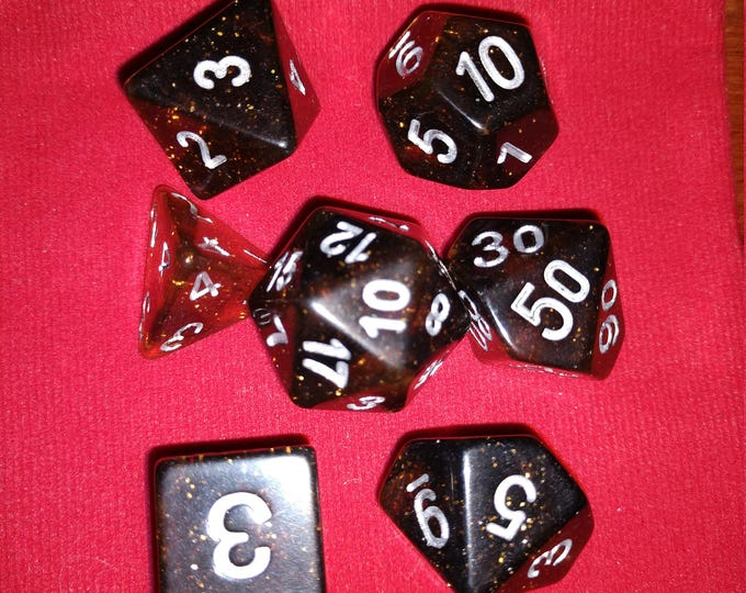 Lava Glitter - 7 Die Polyhedral Set with Pouch