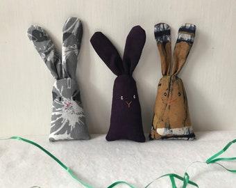 Happy linen bunnies, dream pillow rabbits, lavender sachets