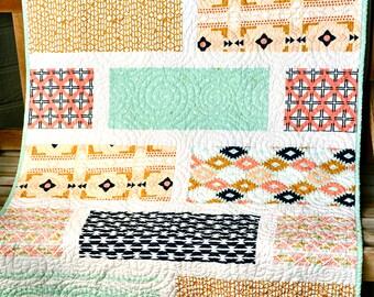 Handmade Arizona Modern Baby Quilt Southwest Crib Quilt Blanket Tribal Aztek Patchwork Coral Mint Green Navy Gender Neutral Quilt Nursery