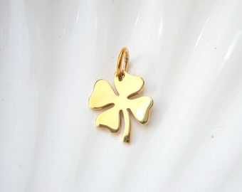 Gold Four Leaf Clover Charm - Jewelers Bronze - Add On - Lucky Irish Clover - Shamrock