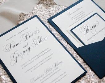 Navy Wedding Invitations, Invitation For Wedding, Traditional Wedding Invitation, Glam Wedding Invitation, Invitation Suite | Dana & Gregory