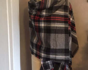 Blanket Scarf Plaid Grey Red Blue Black White Winter January Cozy Vintage Fabric
