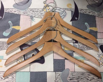 Lot of 4 Vintage Wooden Clothes Hangers