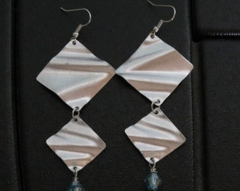 Diamond + Diamond ... lightly brushed aluminum earrings