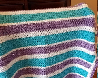 Turquoise and Lilac Afghan - Ready to Ship