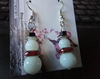 Snowmen Earrings, Argentium earrings, Argentium sterling silver ear wires, White earrings