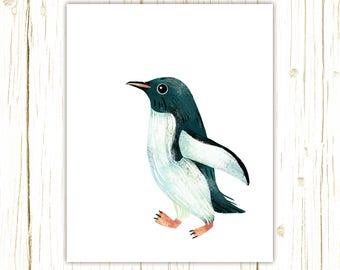 Gentoo Penguin Print -- bird art -- colorful bird art by stephanie fizer coleman illustration