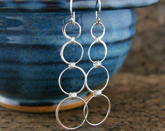Long sterling silver circle earrings, four circles, four rings, linked circles, infinity earrings, fashion earrings, mother's day