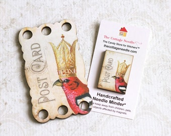 White Winged Crossbill #3 Thread Keep Needle Minders Crowned Bird Collection cross stitch floss holder