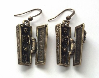 Antiqued Gold Coffin and Skeleton Earrings - Day of the Dead Earrings -Halloween Earrings - Hinged Coffin Earrings