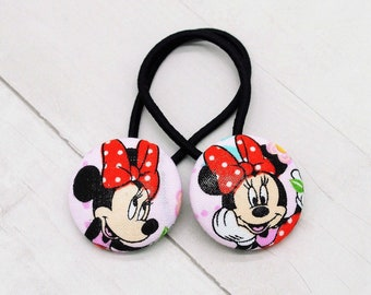 Minnie Mouse Hair Button, Minnie Hair Elastic, Minnie Birthday, Minnie Pigtail Sets, Disney Stocking Stuffer for Girl, Easter Basket Filler