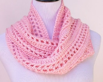 Pink Spring/Summer Scarf, Crochet Scarf, Lacy Scarf, Handmade Gift, Crochet Accessory