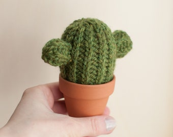 knitted cactus, wool and alpaca, handmade deco, office decoration, crochet cacti