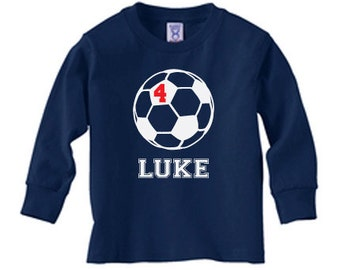 Personalized soccer long sleeve t shirt, soccer birthday tee shirt for boys