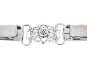 Fancy Silver Crest Cardigan Clip