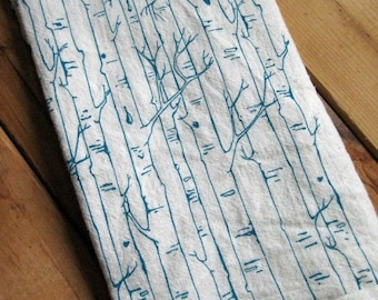 Tea Towel - Organic Tea Towel - Dish Towels - Kitchen Towels - Birch Tree - Tea Towel Flour Sack - Flour Sack Towels - Organic Cotton